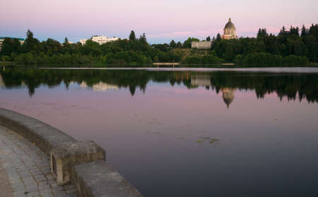 to the secretary: Government Building Capital Lake Olympia Washington Sunset Dusk Stock Photo