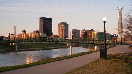 midwest usa: The Miami River travels along passing through Dayton Ohio