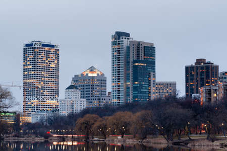 commercial real estate: Spring is on its way along North Lincoln Memorial Drive in Milwaukee Stock Photo