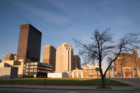 landuse: One corner sits undeveloped in downtown Dayton at sunrise Stock Photo
