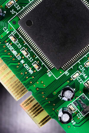 pci card: Close up macro view of a computer component