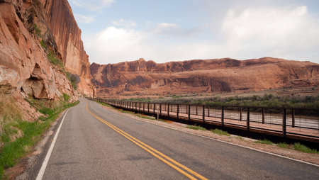 curve road: Open road early morning Utah United States