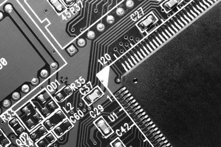 computer component: Close up macro view of a computer component