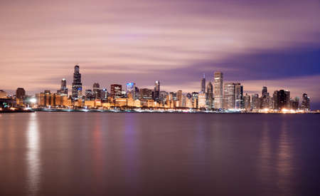 lake shore drive: A beautiful pink sunrise lights the long downtown Chicago skyline