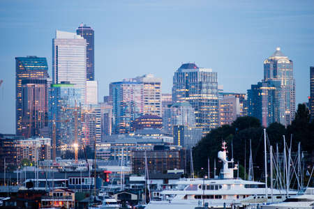 glimmering: Glimmering new buildings line the contemporary Seattle Skyline Stock Photo