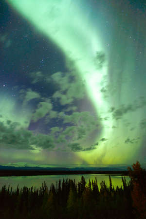 auroral: The Northern Lights emerge through the clouds in remote Alaska