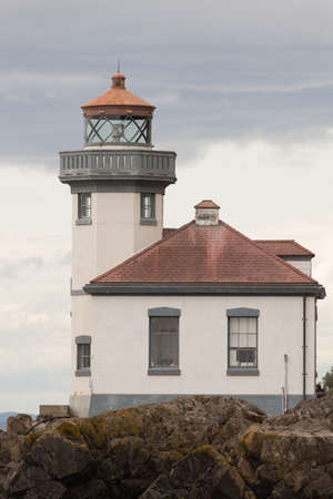 timeless: The timeless design of a historic nautical lighthouse beacon Stock Photo
