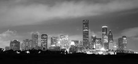 Soft clouds over perfect Houston downtown city skyline