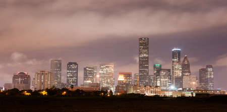 Soft clouds over perfect Houston downtown city skyline Stock Photo - 47470030