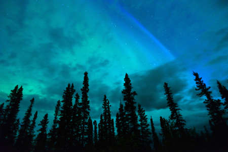 The Northern Lights emerge through the clouds in remote Alaska