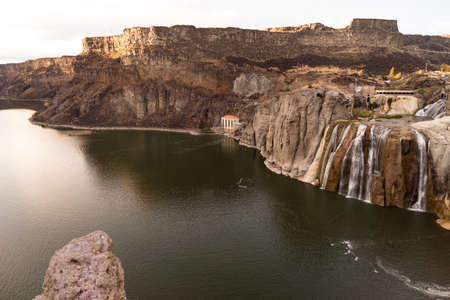 barely: Local drought has left the falls on the Snake River barely flowing