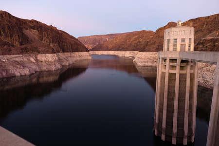 colorado river: Lake Mead The Colorado River Hoover Dam Nevada Arizona Stock Photo
