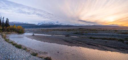 cloud capped: Sunrise Mountain Range Gulkana River Central Alaska