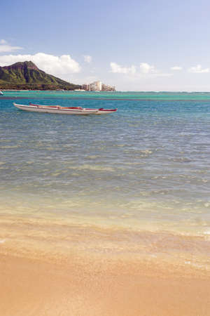 diamond head: Boats Float Pacific Ocean Diamond Head Oahu Waikiki Hawaii Stock Photo