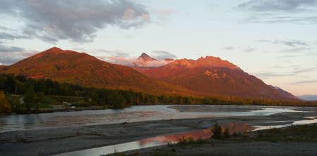 palmer: Mountains Matanuska River Palmer Alaska Sunset