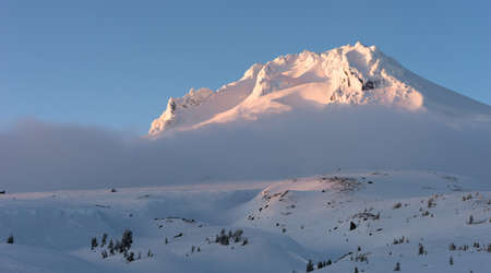 cascade range: Sunset Mount Hood Cascade Range Ski Resort Area