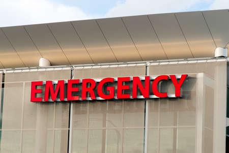 Emergency trauma center big red sign