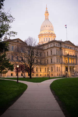 capital building: The lights come up on the capital building in Lansing.