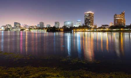 Oakland California Night Sky Downtown City Skyline Lake Merritt
