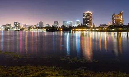 lake shore: Oakland California Night Sky Downtown City Skyline Lake Merritt