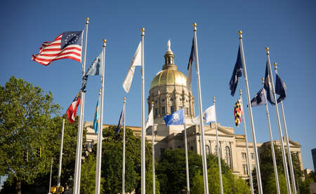 Atlanta Georgia State Capital Gold Dome City Architecture Flags Stock Photo