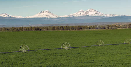 cascade range: Three Sisters Stands Majestic Oregon Cascade Mountain Range
