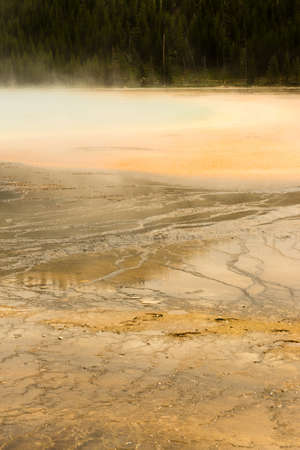appears: Saturated color appears as the fluid makes its way down from the Grand Prismatic Spring