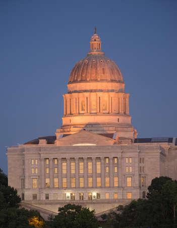 missouri: Jefferson City Missouri Capital Building Downtown City Skyline Editorial