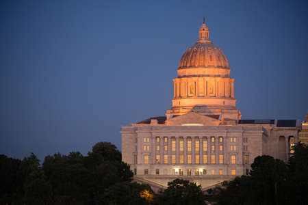 missouri: The lights come up as the sun fades on the capital building downtown Jefferson City, Missouri
