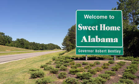 sweet home: A large welcome sign along the interstate heading into Sweet Home, Alabama