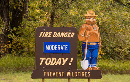 Mascot for the forests against fire Smokey the Bear reports the danger level today