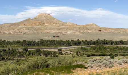 Clouds Pass Over Wind River and Native American Land Wyoming 免版税图像