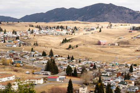 Downtown Butte Montana with winter setting in 版權商用圖片