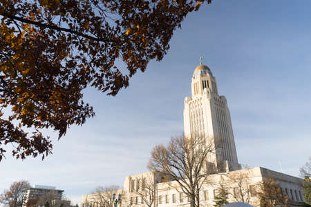 Leaves still hold on in December at Lincolns Capital Stock Photo