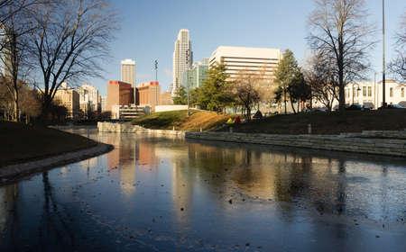 Omaha Nebraska Downtown City Skyline Missouri River Foto de archivo