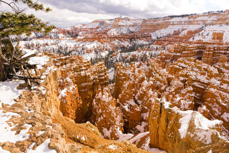 Fresh snow falls in Bryce Canyon in late November Stock Photo
