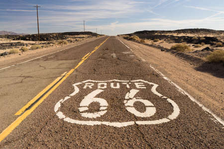 survives: The historic route 66 road still survives in the southwest Stock Photo