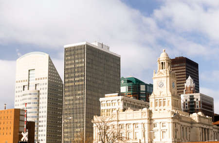 A bright sunny winter day in downtown Des Moines, Iowa
