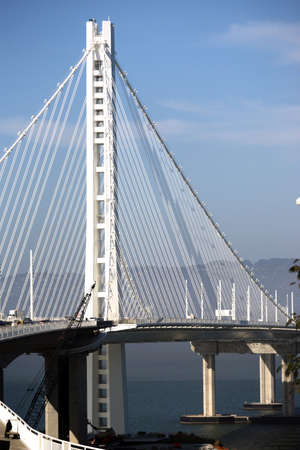 A vertical composition of an upright on the bay bridge off Treasure Island Stock Photo