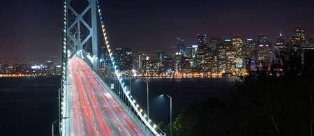 Car lights create streaks in this long exposure of the Bay Bridge