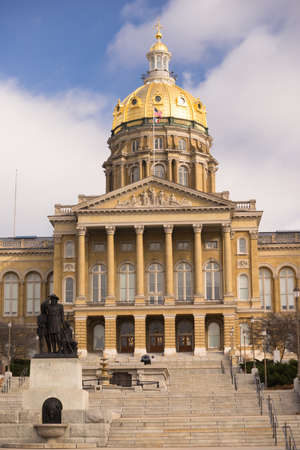 rotunda: The US and State flags fly at Des Moines Capital