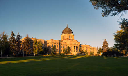 The sun hits the capital building in Helena just after sunrise