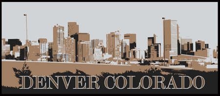 A view of Denver in just 3 colors behind a highway onramp at sunset