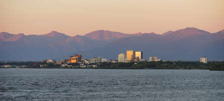 Cook Inlet Anchorage Alaska Downtown City Skyline