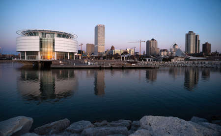MILWAUKEE, WISCONSIN/UNITED STATES – APRIL 1: Most of the cities residents sleep as the sun comes up on the downtown waterfront on 04/01/2017 in Milwaukee, WI. Editorial