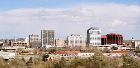 COLORADO SPRINGS, COLORADOUNITED STATES – APRIL, 20: Downtown urban city skyline on a cold winter say 0420215 in Colorado Springs.