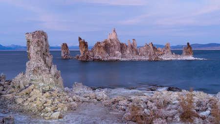Rock Salt Tufa Formations Sunset Mono Lake California Nature Outdoors Stok Fotoğraf