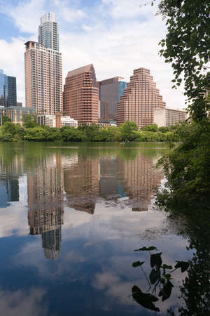 Near perfect vertical compositon of the riverfront and Austin Texas Stock Photo