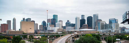 Panoramic View Houston Downtown City Skyline Infrastructure Highway