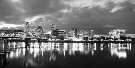 Black and White representation of downtown Portland Oregon at night